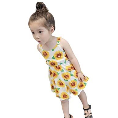 ShiTou Girls Dress&&Sunflower- Print Sleeveless Floral Dress Outfits ...