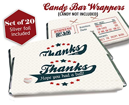 Baseball candy bar wrappers - Set of 20 - Silver foil included - Birthday favors - Baby Showers ()