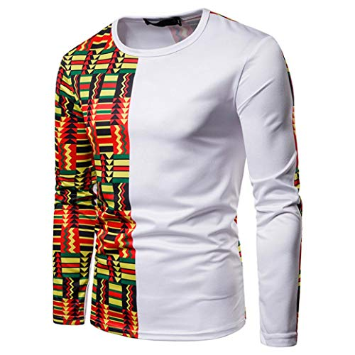 T Hommes Slim Rond Aimee7 shirt Imprimer Sweat Blanc Ethnique Manches Col À Longues Style fSz4dqX