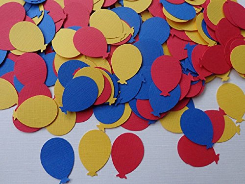 Primary Colors Balloon Die Cuts - Red - Blue - Yellow - Scrapbooking Paper Embellishments - Cardmaking Supplies - Paper Balloon Confetti (Set of 125 pieces) from Honeybear Party Boutique