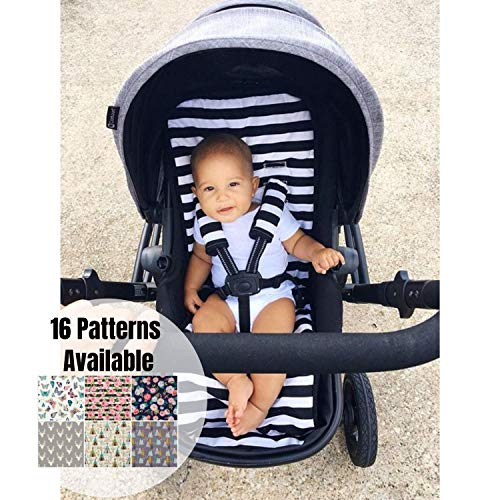 - Universal Stroller Liner, Pram Liner, Black and White Stripes, Stroller Pad,Buggy Liner, Stroller Strap Covers, Infant Head Support