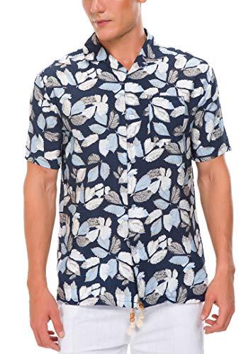 Janmid Men's Tropical Hawaiian Shirt Casual Button Down Short Sleeve Shirt Black Blueleaf M