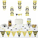 Big Dot of Happiness Honey Bee - Triangle Baby Shower or Birthday Party Decoration Kit - 72 Pieces