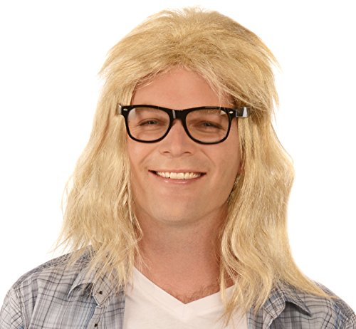 (Kangaroo Men's Long Blonde Guitar Player Wig &)