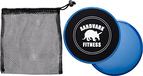 Aardvark Gliding Discs - Core Sliders for Strength and Stability - Abdominal and Glutes Exercise Slides for Home and Gym Work Out - Works on Carpet and Hardwood Floors (Blue)