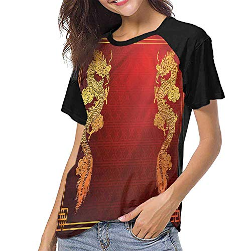 Raglan Sleeve Baseball Tshirt,Dragon,Historic Asian Creature S-XXL(This is for Size Extra Large),Womens Short Sleeve Blouses