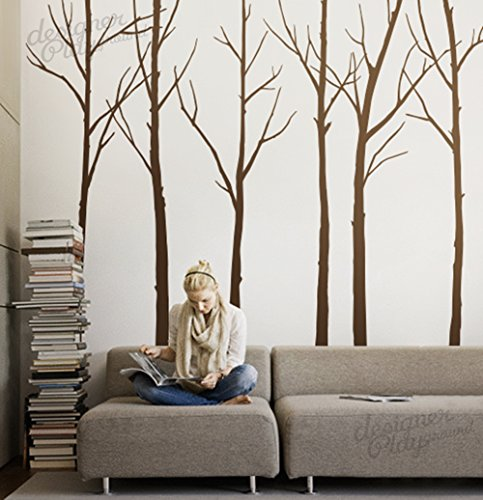 Designer Playground P036 Winter Tree Vinyl Wall Decal 6 Trees Set 96Inch Brown - cool winter wall art