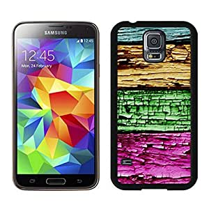 Samsung Galaxy S5 Case Colorful Wood Texture Awesome Soft Rubber Black Cover - Durable PC Cell Phone Cover Case