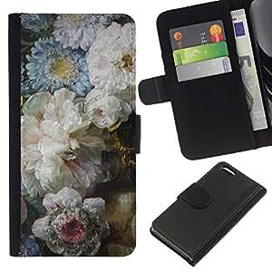 Apple iPhone 5C Modelo colorido cuero carpeta tirón caso cubierta piel Holster Funda protección - Flowers Blue White Mothers Day