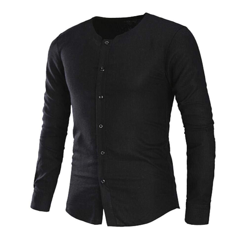 kaifongfu Men Shirt,Solid Color Men Button Long Sleeve Shirt Blouse Top(Black,2XL)