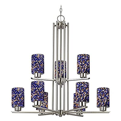 Chandelier with Blue Art Glass in Satin Nickel Finish - 9-Lights