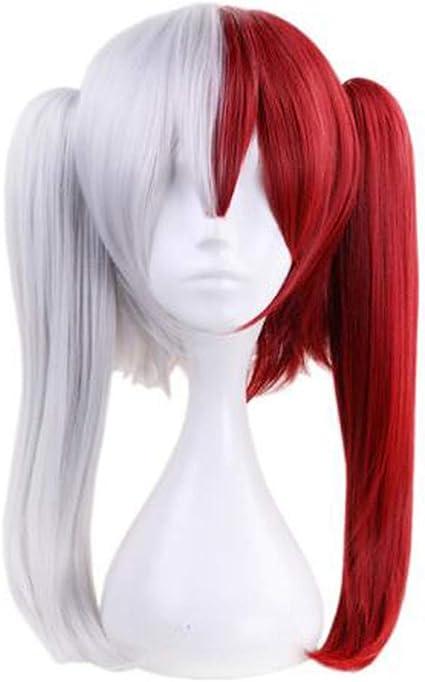 My Hero Academia perruque Deku Todoroki Shoto Cosplay perruque r/ésistant /à la chaleur en soie moelleux en couches Anime Halloween Party perruque cheveux