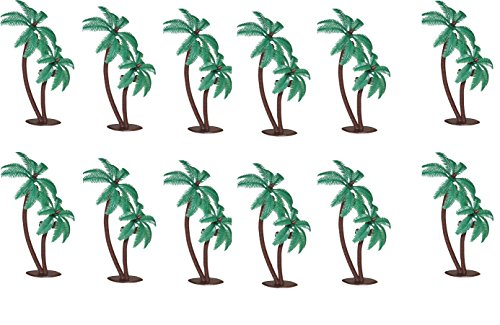 Palm Trees with Coconuts Cake/Cupcake Toppers - 12 pcs by Bakery (Palm Tree Party Picks)
