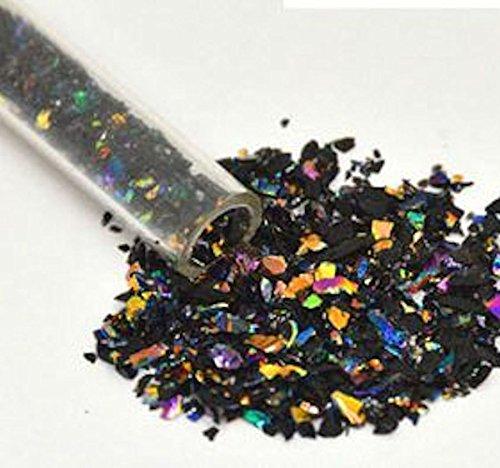 1 Oz Rainbow Dichroic Medium Frit Flakes on Black- 90 Coe (Flakes 1 Ounce Tube)