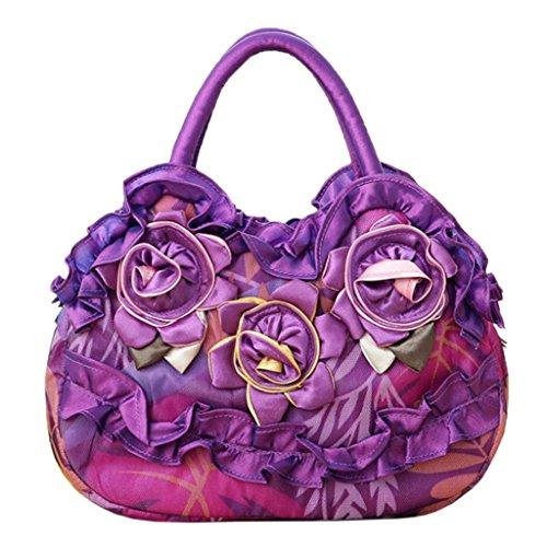 JAGENIE Fleur Femmes Lady Sac Zipper Pocket Toile Simple Casual Sac à Main Shopping Purse Rose Vif Violet