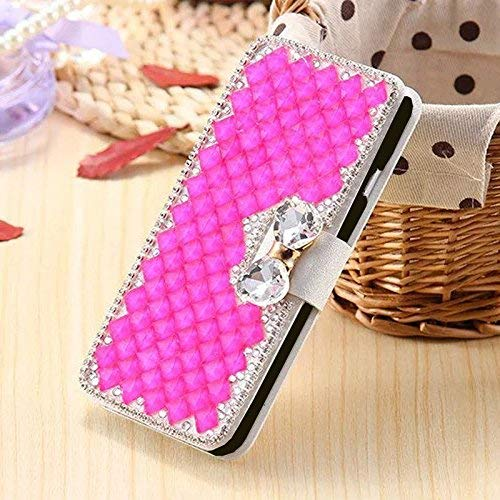 - Moto G7 / Moto G7 Plus Wallet Case,Bling Diamond Bowknot Shiny Crystal Rhinestone Purse PU Leather Card Slot Pouch Flip Cover Kickstand Case for Girl Woman Lady (Hot Pink)
