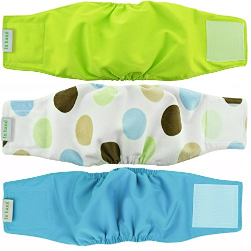 IN HAND Washable Male Dog Diapers(Pack of 3), Premium Reusable Belly Bands for Male Dogs, Durable Male Dog Belly Wrap, Comfy Doggie Diapers (Make Dog Belly Band)