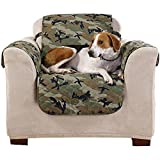 MN 1 Piece Green Black White Camouflage Print Chair Protector, Camo Cabin Hunting Theme Furniture Protection Cover Lake Cottage House Army Style Couch Covers Pets Animals Plush Suede, Polyester