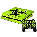 258stickers® Playstation 4 Console Skin & Remote Controllers Skin - Green Light Biohazard Sticker