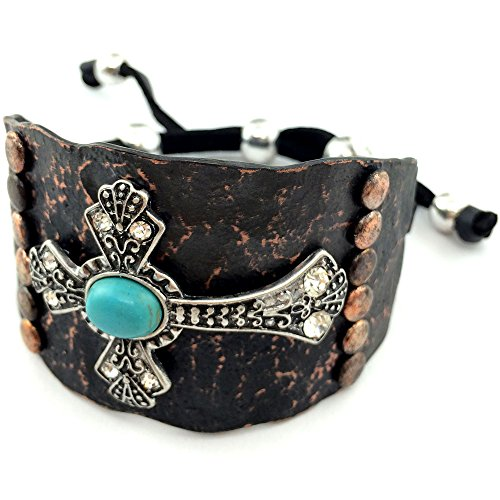 Leather Turquoise Rhinestone - 1