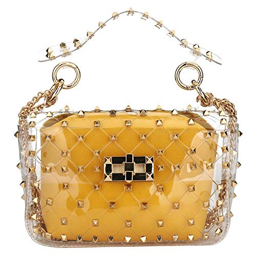 2 in 1 Clear Tote Women Transparent PVC Plastic Cross body Bag with Rivet (Yellow)