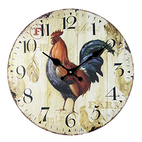 YeYo European Style Country Golden Rooster Wall Clock Wooden MDF Silent Art Decor for Home Living Room Office Decoration (20inch)