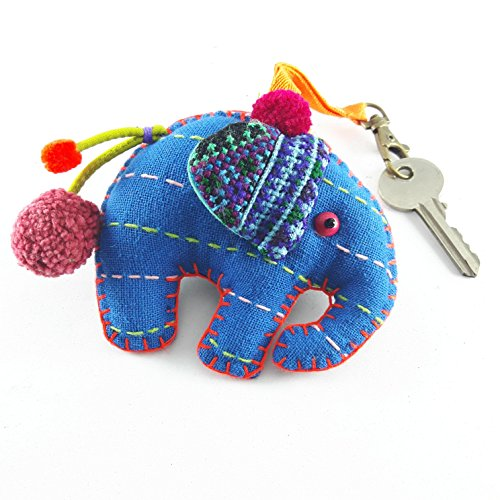 Elephant Key Chain Ring Emdroidered Handmade Cotton By Hmong Studded Stuffed 2 Side of Each Color