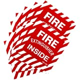 """(10 Pack) - FIRE EXTINGUISHER INSIDE - 4""""x4"""", Self Adhesive Vinyl Signs"""