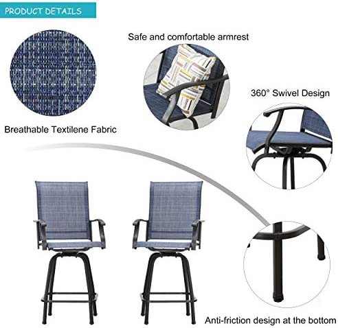 LOKATSE HOME 2 Piece Bar Height Patio Chairs Outdoor Swivel Stools Set Furniture Review