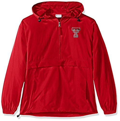 Half Zip Wind Jackets - Champion NCAA Men's Half Zip Front Pocket Packable Jacket Texas Tech Red Raiders XX-Large