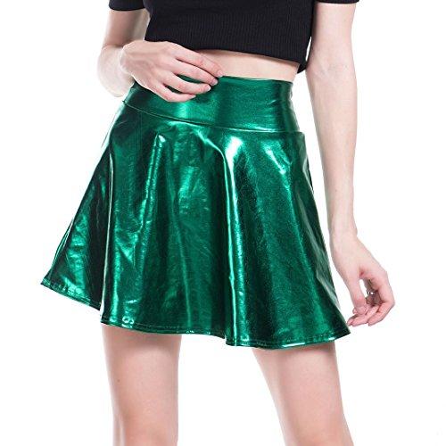 Tynora Women Ladies Fashion Sexy Metallic Gilding Mini Pleated Skirt for Party Club Prom(Green XL)]()