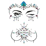 ZLXIN Face Chest Gems, Temporary Tattoo Stickers, Self-adhesive Glitter Rhinestone Body Jewels, Waterproof Crystal Face Breast Chest Gems for Rave Festival, Party or Music Concert(One Set)