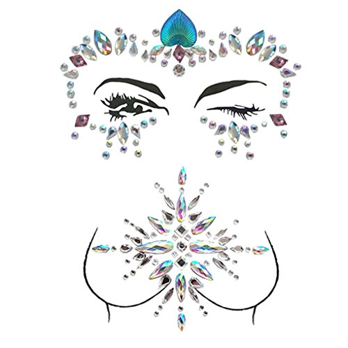 ZLXIN Face Chest Gems, Temporary Tattoo Stickers, Self-adhesive Glitter Rhinestone Body Jewels, Waterproof Crystal Face Breast Chest Gems for Rave Festival, Party or Music Concert(One Set) by ZLXIN