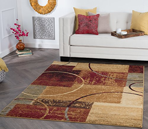 Tacoma Contemporary Abstract Multi-Color Rectangle Area Rug, 7.6' x 10'