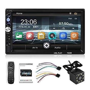 MiCarBa 7 pulgadas HD 1024 pantalla t/áctil Est/éreo para auto con control remoto Soporte FM Android 4.0-8.0 Tel/éfono Enlace de espejo 600 Reproductor de video est/éreo para auto con doble Din