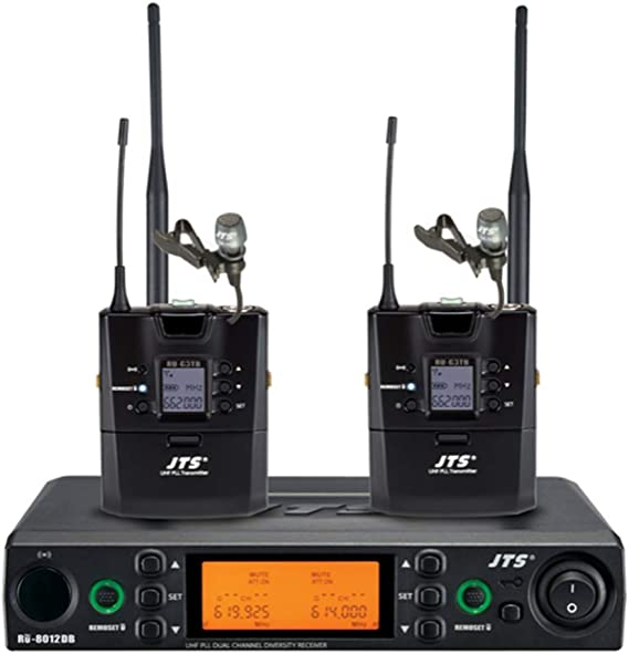 JTS UHF PLL Dual Channel Diversity Lapel Wireless Microphone ...
