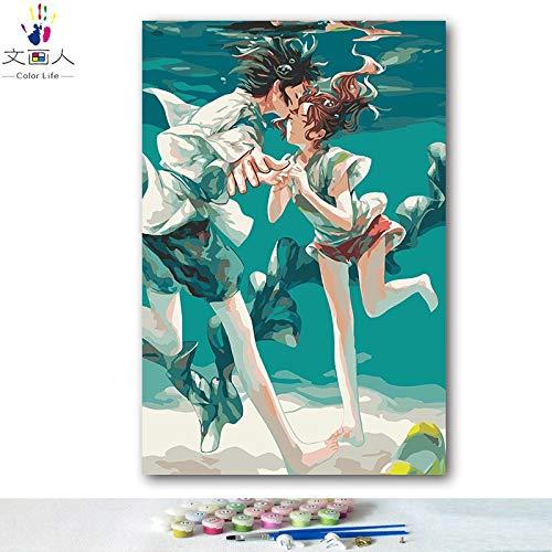 alta calidad general 30x45 no frame KYKDY Dibujos para Colorar Colorar Colorar DIY por números con Colors Spirited Away Hayao Miyazaki anime dibujo de dibujos pintura por números enmarcados, 0389,70x90 sin marco  hasta 60% de descuento