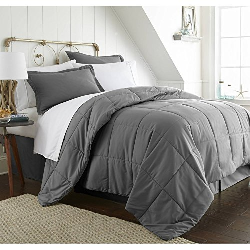 Comforter Sets Premium California King Size Set in 8 Piece Adult Luxury Elegant Design (Gray) by ienjoy home