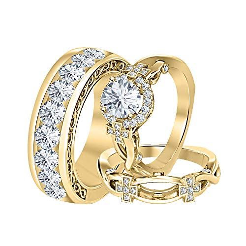 Diamond Wedding Cross - tusakha Round White Diamond 14K Yellow Gold Cross Engagement Wedding Band Bridal Trio Ring Set for Men's & Women's