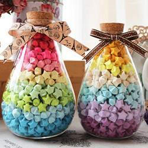 (90 strips/package)30 Candy Colors Handcraft Origami Lucky Star Strips DIY Paper Decoration Wishing Bottle Gift
