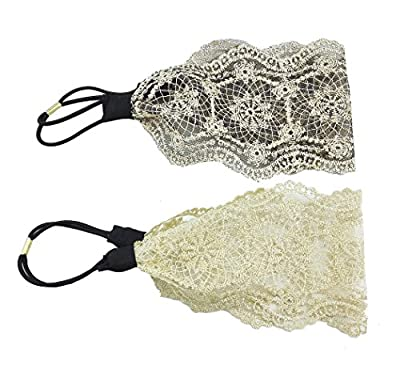 yueton Pack of 2 Elegant Retro Women Girl Lace Headband Hair Band Hair Accessories (2 Different Colors)
