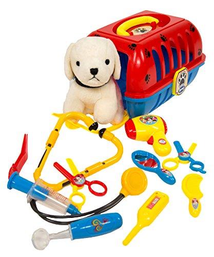 Pet Care Play Set - Vet Kit and Grooming Kit - 12pcs -