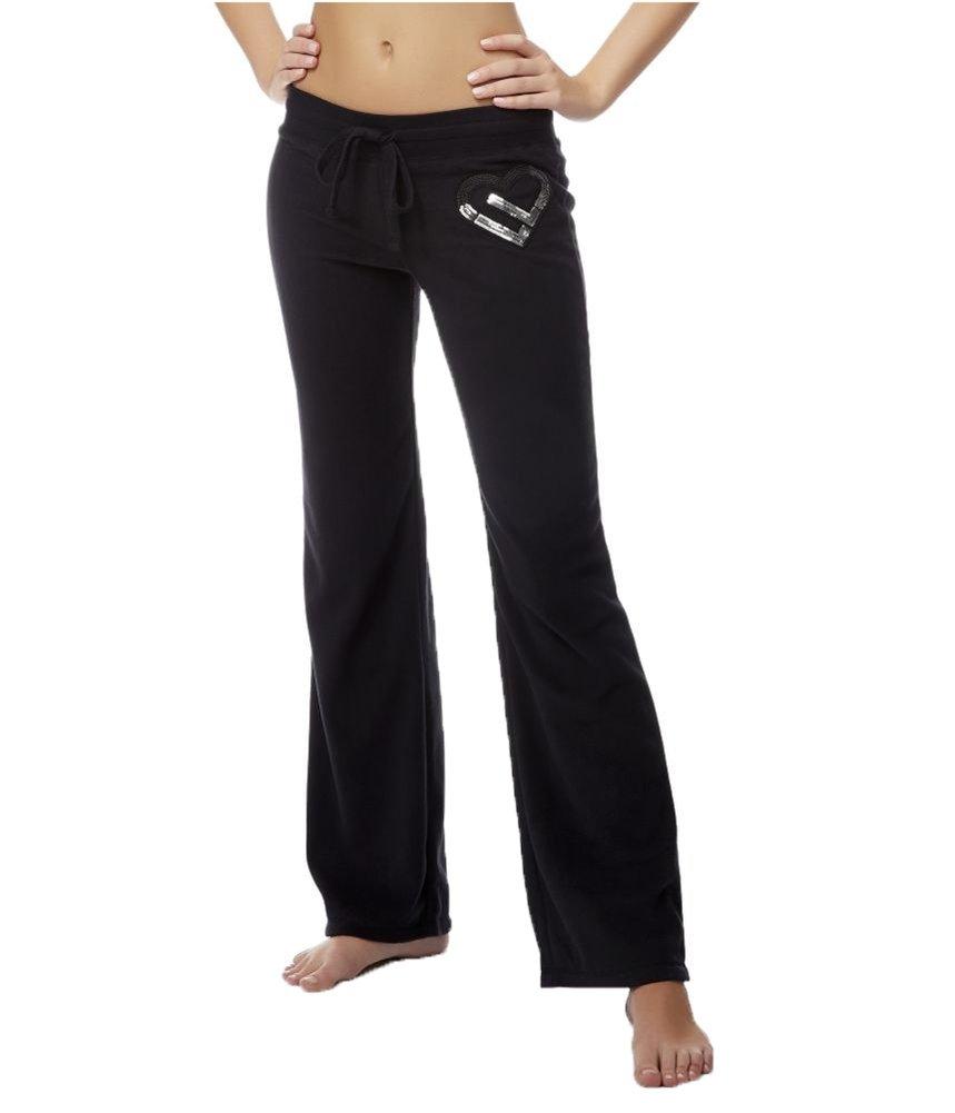 Aeropostale Womens Sequin Terry Pajama Sweatpants Black XXS/32 - Juniors