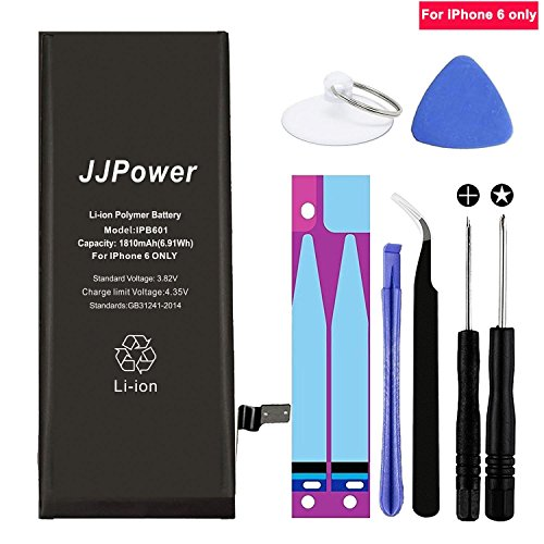 JJpower iPhone 6 Battery Replacement 1810mah for iPhone 6 + Free Repair Kit Only $13.50