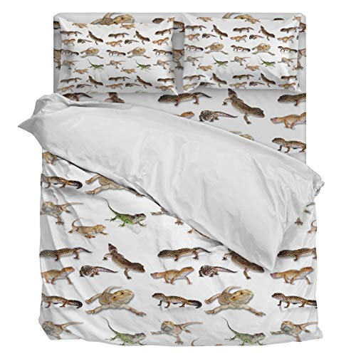 Greeeen Bedding Set Duvet Cover- Reptile Lizard Luxury Soft Comfortable 4 Piece Home Decoration Include 1 Flat Sheet 1 Duvet Cover and 2 Pillow Cases Full ()