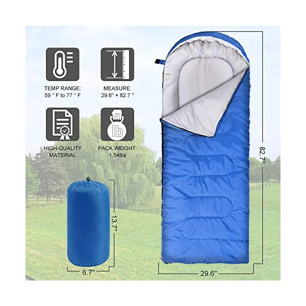 Vocado Sleeping Bag, Double Envelope Sleeping Bag, Indoor & Outdoor Use, Portable, Lightweight and Compact Sleeping Bags for Kids, Adults, Teens, 3-4 Seasons Camping, Hiking, Traveling, Backpacking 4