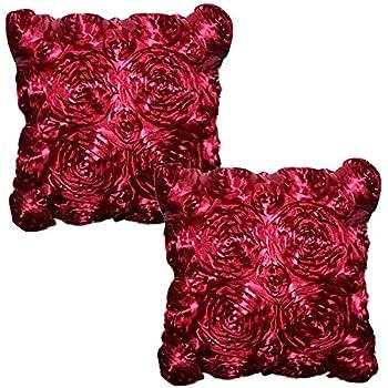 Amazon.com: Decorative 3D Burgundy Floral Throw Pillow