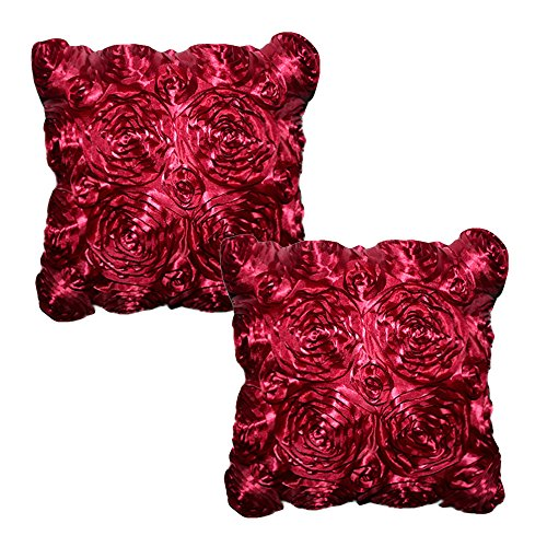 womhope-set-of-2-pcs-3d-solid-color-satin-rose-flower-square-pillowcase-bed-sofa-cushion-pillow-case