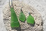 Genuine Kelly Green Sea Glass Sterling Silver Earrings and Necklace Set