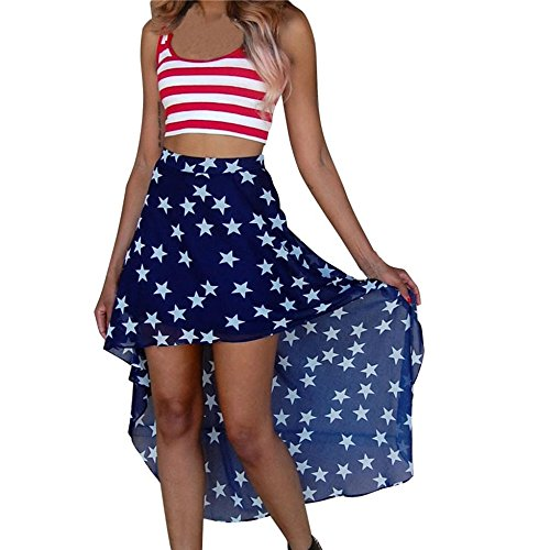 American Flag Dress Sleeveless Striped Crop Top Stars Print Skirt 2PC Set Makaor (Asian Size:XL, Multicolor)